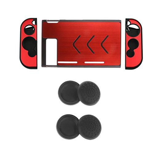 magideal Bezug Autoschondecke (rot) + 2Peer Joystick Kappe Thumbstick (schwarz) für Nintendo NS Konsole