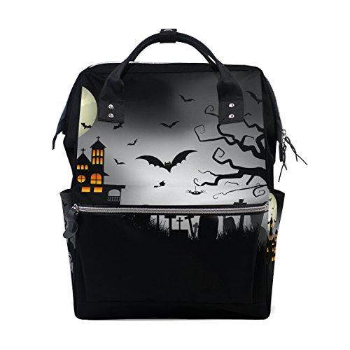 COOSUN Spooky Halloween Hintergrund Nappy Wickeltasche Windel Rucksack mit Insulated Taschen Stroller Straps, große Kapazitäts-Multi-Funktions-stilvolle Windel-Tasche für Mama Dad Außen Groß mehrfar