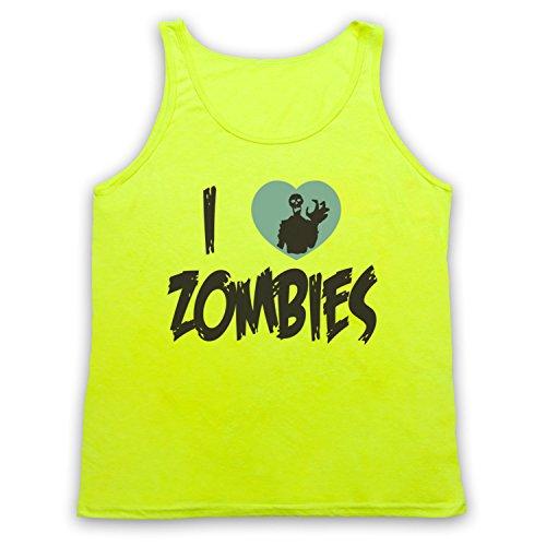 I Love Zombies Funny Slogan Tank-Top Weste Neon Gelb