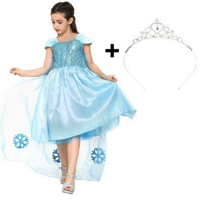 Blaues Prinzessin Mädchen-Kostüm-Kleid für Kinder in Cinderella / Elsa Thema für Karneval, Fasching, Geburtstags-Party mit großen (Mädchen Cinderella Für Kostüme)