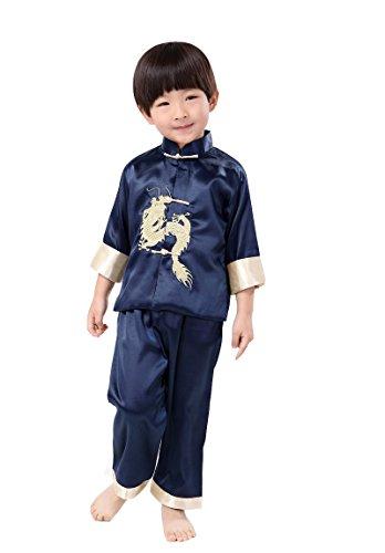 Kinder Chinesische Kostüme (Yue Lian Kinder Jungen Chinesischen Uniform Langärmelige Kostüm Kung Fu Drachen Stickerei (9-10 Jahre alt,)