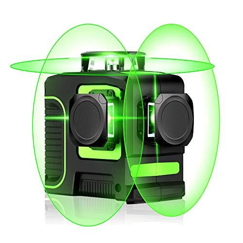 Seesii Livella Laser a Croce, Linea Laser Verde Autolivellante con Linea Orizzontale e Verticale a 360 Gradi Modalità Impulso Esterno, Campo di Lavoro 30m