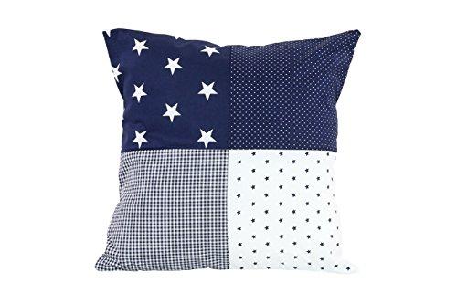 ULLENBOOM ® Patchwork Kissen 40x40 cm mit Füllung Blaue Sterne (100{64466914f5d7c480c1155c260848e3dfe817c896e14efe15a67b9e209199c25e} Baumwolle, ideal als Dekokissen oder Kinderzimmer Zierkissen, Motiv: Sterne)