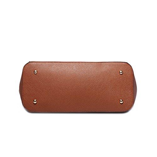Miss Lulu Damen Faux Leder Schulter Handtasche Einstellbare Griff Große Tasche 1642-1 Brown