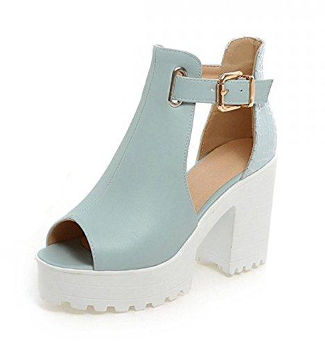 Aisun Femme Mode Bride Cheville Plateforme Bout Ouvert Sandales Bleu