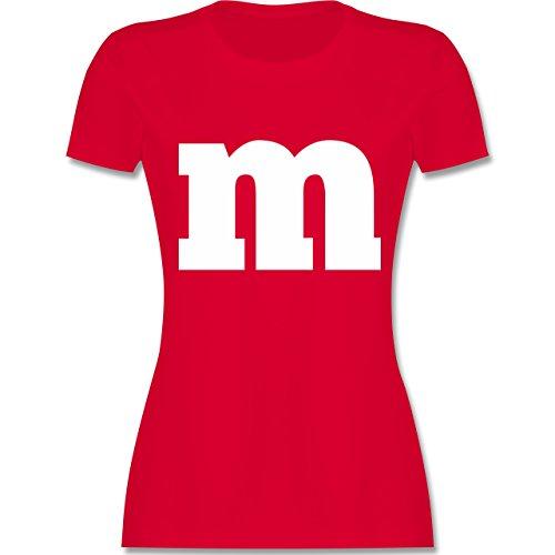 & Fasching - Gruppen-Kostüm m Aufdruck - M - Rot - L191 - Damen T-Shirt Rundhals (M)