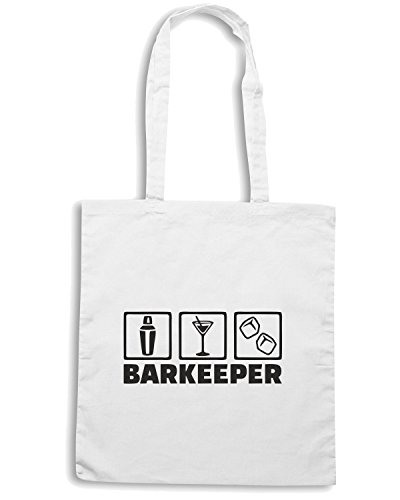 T-Shirtshock - Borsa Shopping BEER0149 Barkeeper bartender 2 Bianco