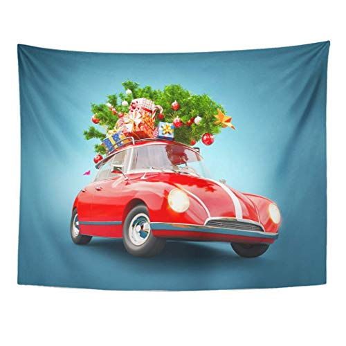 Wall, Tapestry Wall Hanging, Unusual 3D of Red Santa Car Boxes and Christmas Tree Top Merry Happy New Year 60