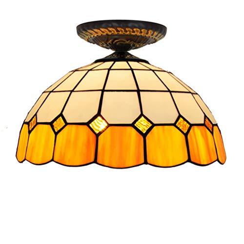 Tiffany Stil Retro Europäischen Semi Flush Deckenleuchte Orange Glas Warme Farbe Handgefertigte Lampenschirm Geeignet für Wohnzimmer Schlafzimmer Restaurant Bar Gang Flur Coffee Shop ( watt : 220V )