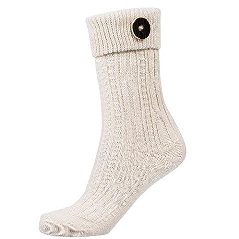 Socken Zopfmuster mit Umschlag und Knopf in natur/ weiß Gr.