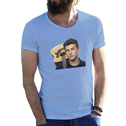 Shawn Mendes With Guitar T-shirt maglietta per uomo Azzurro