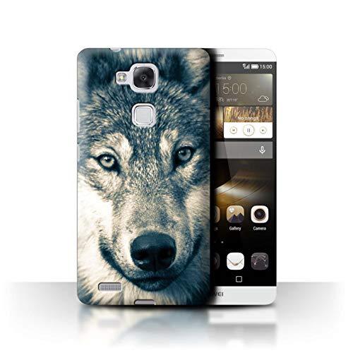 eSwish Hülle/Case für Huawei Ascend Mate7 / Retro Graues Porträt Muster/Wildes Tier Raubtier Wolf Kollektion