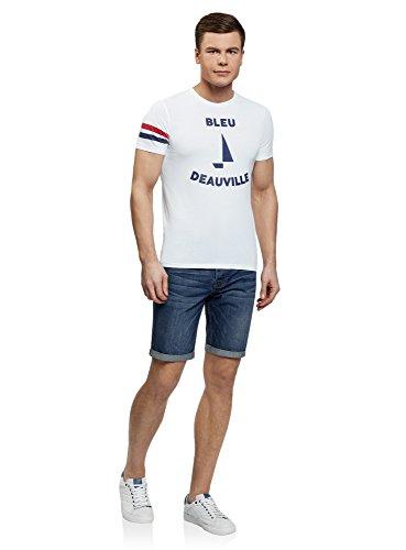 oodji Ultra Herren Bedrucktes Baumwoll-T-Shirt Weiß (1079P)