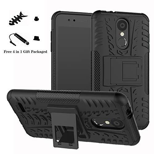 LiuShan LG K8 / K9 2018 Hülle, Dual Layer Hybrid Handyhülle Drop Resistance Handys Schutz Hülle mit Ständer für LG K8 2018 / K9 2018 Smartphone (mit 4in1 Geschenk verpackt),Schwarz