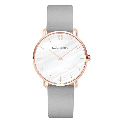 PAUL HEWITT Damen Uhr Miss Ocean Line Pearl in IP Roségold mit Lederarmband in Graphite