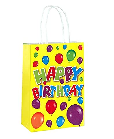 Pack of 24 Happy Birthday Party Bags with Handles - Party Favor Filler