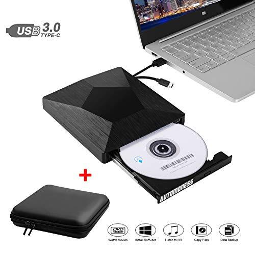 Automoness Externes CD DVD Laufwerk Brenner mit Schalentasche, tragbarer DVD Player USB 3.1 und Typ-C, Tragbarer DVD Brenner CD-/DVD-RW Externer CD Reader Writer Player für Mac/Windows/Laptop/PC usw