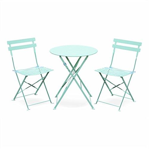 Alice's Garden - Salon de Jardin bistrot Pliable - Emilia Rond Vert d'eau - Table Ø60cm avec Deux chaises Pliantes, Acier thermolaqué