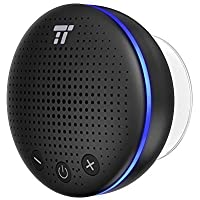 Altavoz Bluetooth Ducha, TaoTroncis Altavoz Inalambrico Portátil con LED y Ventosa IPX7 Impermeable, Micrófono Integrado, 6 Horas para Hogar Fiesta Ducha Baño y Piscina (Negro)