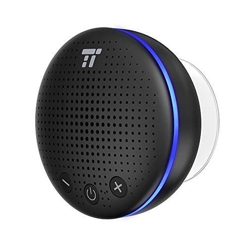 TaoTronics Bluetooth Lautsprecher Wasserdicht IPX7 Dusche Mini 5W Farbig LED leuchten Integriertes Mikrofon Kräftige Saugglocke 6 Stunden Wiedergabedauer für Android und iOS Smartphones iPads Tablets