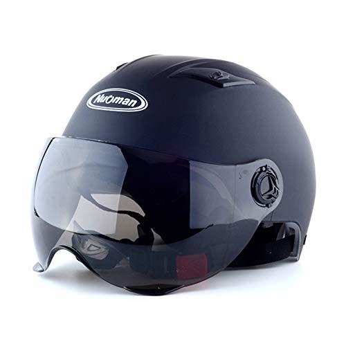 HSKS Casco de Moto Negro