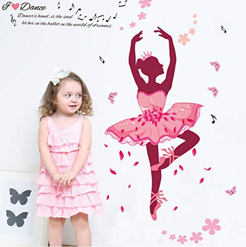 XQWZM Fairies Girl Dance Butterfly Flowers Art Decal Wall Stickers for Kids Rooms Girls Bedrooms Children Nursery Wall Decoration