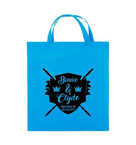 Buste Comiche - Bonnie & Clyde Knight - Motivo - Borsa In Juta - Manico Corto - 38x42cm - Colore: Nero / Rosa Azzurro / Nero