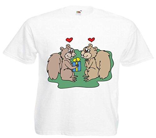 Motiv Fun T-Shirt Eichhörnchen das Geschenk gibt Cartoon Spass Kult Film Motiv Nr. 12686 Weiß