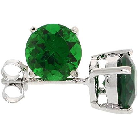 Revoni-Bracciale in argento Sterling, colore: verde smeraldo, 1 1/4 di carato, taglio a brillante, 7 mm)-Set orecchini a perno, zirconia cubica, placcati al rodio
