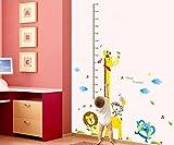 #1: UberLyfe Tall Giraffe and Friends Height Chart Wall Sticker - 6 Ft. (Wall Covering Area: 180cm x 140cm) - WS-734