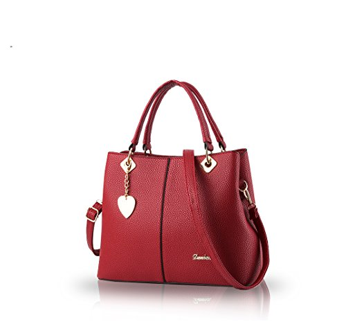 Nicole&Doris Sac ¨¤ main 2016 sac femme nouvelles simples mode gros singles sac ¨¤ main de femmes Sac Messenger Bag Femme(Pink) vin rouge