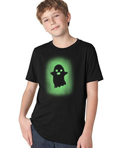 Crazy Dog Tshirts Youth Glowing Ghost Glow in The Dark Tshirt Cool Halloween Costume Tee (Black) XL - Jungen - - Witze Halloween Nerdy