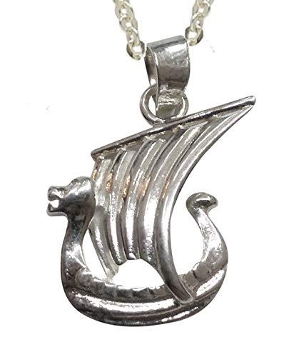 Sicuore Colgante Collar Barco Vikingo Drakkar para Mujer Hombre - Plata De Ley 925 Incluye Cadena De Plata De 45cm Y Estuche para Regalo