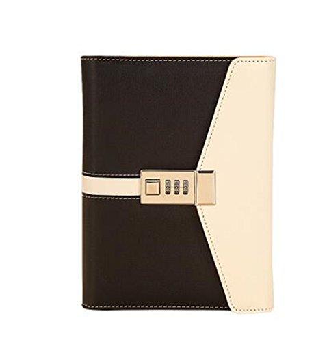 itschrift mit Binder Zahlenschloss A6(7,5x 14,5cm) A nachfüllbar, strapazierfähiges PU-Leder Kombination Lock diary-black ()