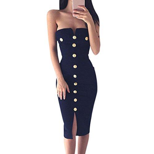 feiXIANG Frauen Bodycon kleider Bleistift Cocktail Abend Kleid Damen Party Dress ärmelloses einfarbiges Kleid Frauen Tanzkleidung Kleid Basic Mode A-Linie Trägerloser Partykleid (XL, Navy) (Navy Button Anzug)
