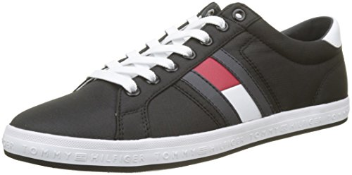 Tommy hilfiger essential flag detail sneaker, scarpe da ginnastica basse uomo, nero (black 990), 44 eu