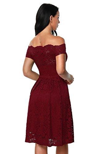 La vogue Schulterfrei Cocktailkleid Damen Retro Spitzen Dress Weinrot