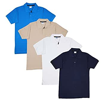 Fleximaa Men's Cotton Polo Collar T-Shirts With Pocket Combo Pack (Pack of 4) - White, Blue, Navy Blue & Biscuit color.