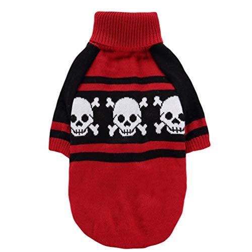 YiiJee Kleine Hundchen Atmungsaktiv Gestrickte Pullover Haustier Hund Halloween Schädel Warme Kleidung Rot XS