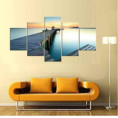 Dekor, Gerahmte Kunst (5 Stücke Malerei Leinwand Sonnenaufgang Auf Meer Brücke Moderne Wandbilder Schöne Lanscape Kunst Für Wohnzimmer Dekor Gerahmt)
