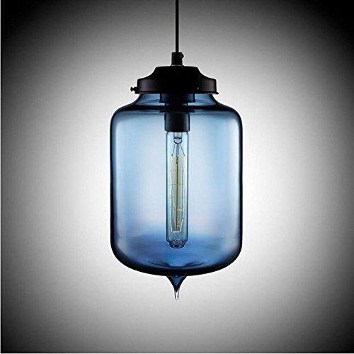 Suspensions Ronde rétro industrielle en verre lustres personnalité créative couleur verre lustres restaurant lumières bar lustres modernes lustres en cristal, blue