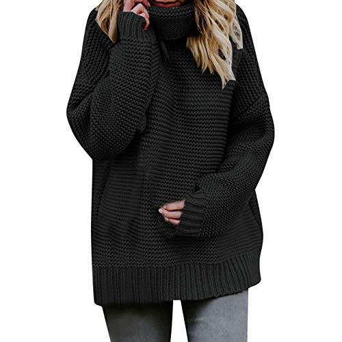 ESAILQ Frauen Langarm Lose Rollkragenpullover Strickpullover Pullover Top Bluse(Large,Schwarz)