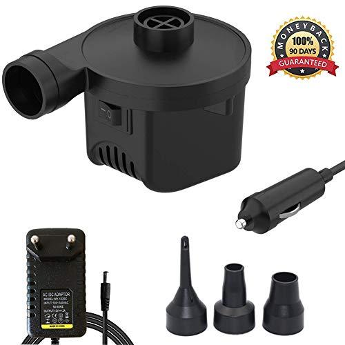 KERUITA Elektrische Pumpe Quick-Fill-Luftpumpe für Inflatables Airbed Pump-Pool-Spielzeug Schwimmerpumpe 220 V AC/DC 12V Schwarz (ACDC) (ACDC)
