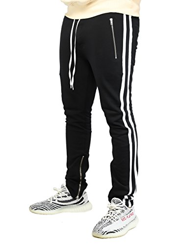 Deadstock Trackpants | Jogginghose Sweatpants Hose (L, 2 Stripe Weiß)