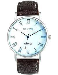 Watches - Geneva Men Watches Blue Ray Glass Quartz Analog Wristwatch Color:Coffee