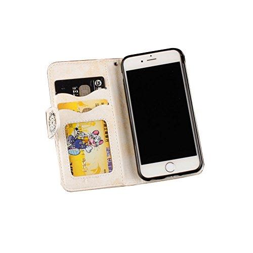 Für iPhone 7 4.7 Zoll Strap Magnetverschluß Ledertasche Hülle,Für iPhone 7 4.7 Zoll Premium Leder Wallet Tasche Brieftasche Schutzhülle,Funyye Jahrgang [Mandala Blumen Prägung] Schutzhülle Wallet Case Mandala,Weiß