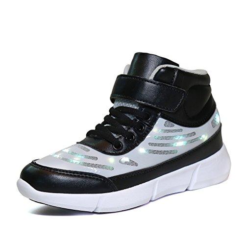 Dannto Kinder LED Schuhe Leuchten Sportschuhe Leuchtschuhe Blinkschuhe USB Aufladen Farbwechsel Sneakers Turnschuhe für Mädchen Jungen(Schwarz,36) -
