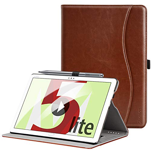 Ztotop Hülle für Huawei MediaPad M5 Lite 10, Premium Kunstleder Leichte Case mit Auto Schlaf/Wach Funktion & Pen Halter, für Huawei MediaPad M5 Lite 10.1 Zoll 2018 Modell, Braun