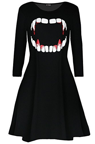 loween Kostüm Vampir Horror Blood langärmlig Swing Minikleid UK Plus Größe 8-26 - Schwarz, Plus Size (UK 20/22) ()