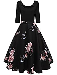 8daf70923e6a28 Axoe Damen A-Linie Kleid 60er Jahre Rockabilly mit Blumenrock 3 4 Ärmel Gr
